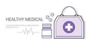 Υγιές ιατρικό σε απευθείας σύνδεση έμβλημα Ιστού προτύπων επιχειρησιακής έννοιας εφαρμογής γιατρών κινητό με το διάστημα αντιγράφ Στοκ Εικόνες