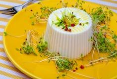 Υγιές και υγιές φρέσκο τυρί διατροφής και φρέσκοι νεαροί βλαστοί της αλφάλφα στοκ εικόνα με δικαίωμα ελεύθερης χρήσης