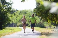 Υγιές, κατάλληλο και αθλητικό ζεύγος που τρέχει στο πάρκο Στοκ Εικόνα