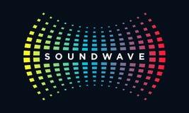 Υγιές κύμα έννοιας λογότυπων μουσικής, ακουστική τεχνολογία, αφηρημένη μορφή στοκ εικόνα