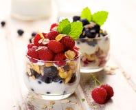 Υγιές παρφαί γιαουρτιού με τα φρέσκα οργανικά σμέουρα, τα βακκίνια και το granola Στοκ Εικόνες