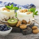 Υγιές πρόγευμα βιταμινών: Ελληνικό γιαούρτι με τα ιταλικά μπισκότα αμυγδάλων με τα φρέσκα μούρα και τα φρούτα, το ακτινίδιο και τ Στοκ Φωτογραφία