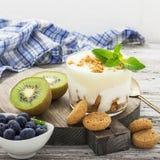 Υγιές πρόγευμα βιταμινών: Ελληνικό γιαούρτι με τα ιταλικά μπισκότα αμυγδάλων με τα φρέσκα μούρα και τα φρούτα, το ακτινίδιο και τ Στοκ εικόνες με δικαίωμα ελεύθερης χρήσης