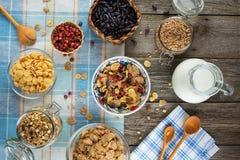 Υγιές πρόγευμα με τα μούρα και το muesli Στοκ φωτογραφίες με δικαίωμα ελεύθερης χρήσης