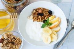 Υγιές πρόγευμα με το γιαούρτι, το granola, το μέλι και τα φρούτα Στοκ Εικόνα