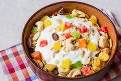 Υγιές πρόγευμα με το γιαούρτι, το muesli και τα γλασαρισμένα φρούτα στο κεραμικό κύπελλο στο υπόβαθρο πετρών Στοκ εικόνες με δικαίωμα ελεύθερης χρήσης