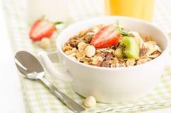 Υγιές πρόγευμα με το muesli (δημητριακά με τα φρούτα, μούρα, καρύδια στοκ εικόνα