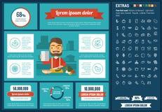 Υγιές πρότυπο Infographic σχεδίου τροφίμων επίπεδο Στοκ εικόνες με δικαίωμα ελεύθερης χρήσης