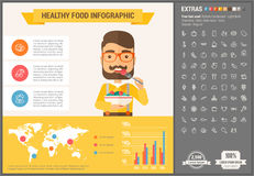 Υγιές πρότυπο Infographic σχεδίου τροφίμων επίπεδο Στοκ Εικόνες