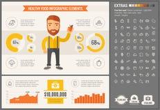 Υγιές πρότυπο Infographic σχεδίου τροφίμων επίπεδο Στοκ φωτογραφία με δικαίωμα ελεύθερης χρήσης