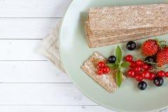 Υγιές πρόχειρο φαγητό από τις Wholegrain κροτίδες παξιμαδιών σίκαλης και τα φρέσκα μούρα στο ελαφρύ υπόβαθρο Στοκ Εικόνες