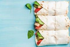 Υγιές πρόχειρο φαγητό μεσημεριανού γεύματος Τρία tortilla περικαλύμματα με την ψημένη στη σχάρα λωρίδα κοτόπουλου και φρέσκα λαχα Στοκ Φωτογραφίες