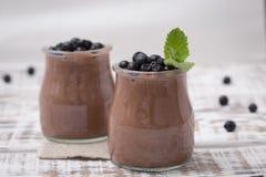 Υγιές πρόχειρο φαγητό προγευμάτων ή πρωινού με τη σοκολάτα σπόρων chia pud Στοκ Εικόνες