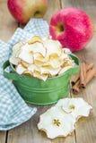 υγιές πρόχειρο φαγητό Σπιτικά τσιπ μήλων στο ξύλινο υπόβαθρο Στοκ φωτογραφία με δικαίωμα ελεύθερης χρήσης