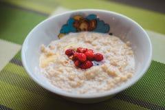 Υγιές σπιτικό Oatmeal με τα μούρα Στοκ Φωτογραφία