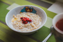 Υγιές σπιτικό Oatmeal με τα μούρα Στοκ Εικόνες