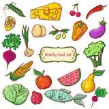 Υγιές σύνολο εικονιδίων τροφίμων Στοκ φωτογραφίες με δικαίωμα ελεύθερης χρήσης