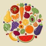 Υγιές σύνολο τροφίμων φρούτων και λαχανικών διανυσματική απεικόνιση