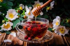 Υγιές τσάι με ένα dogrose και μέλι σε έναν ξύλινο πίνακα Εκλεκτική εστίαση Στοκ φωτογραφία με δικαίωμα ελεύθερης χρήσης