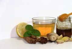 Υγιές τσάι πιπεροριζών με την κανέλα, το λεμόνι και το μέλι μεντών Στοκ φωτογραφία με δικαίωμα ελεύθερης χρήσης
