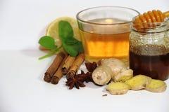 Υγιές τσάι πιπεροριζών με την κανέλα, το λεμόνι και το μέλι μεντών Στοκ Εικόνες