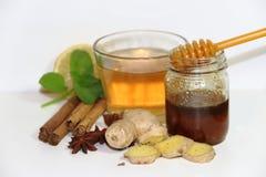 Υγιές τσάι πιπεροριζών με την κανέλα, το λεμόνι και το μέλι μεντών Στοκ Φωτογραφίες
