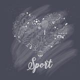 Υγιές υπόβαθρο τρόπου ζωής, αγαπώ τον αθλητισμό, το χέρι που σύρθηκε doodle έθεσε Στοκ Φωτογραφία