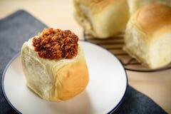Υγιές φρέσκο ψωμί προγευμάτων της Ταϊλάνδης κινηματογραφήσεων σε πρώτο πλάνο εύγευστο με το TA στοκ εικόνες
