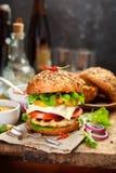 Υγιές χάμπουργκερ κοτόπουλου Στοκ Εικόνα