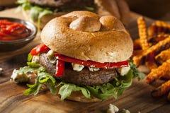 Υγιές χορτοφάγο Burger μανιταριών Portobello Στοκ Φωτογραφία