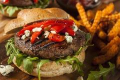 Υγιές χορτοφάγο Burger μανιταριών Portobello Στοκ εικόνα με δικαίωμα ελεύθερης χρήσης
