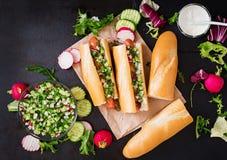 Υγιές χοτ-ντογκ που ντύνεται με το salsa γιαουρτιού και αγγουριών με τα ραδίκια Στοκ Εικόνα