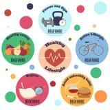 Υγιές infographic έμβλημα τρόπου ζωής με τους κύκλους Στοκ εικόνα με δικαίωμα ελεύθερης χρήσης