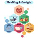 Υγιές infographic έμβλημα τρόπου ζωής Στοκ Εικόνες
