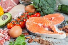 Υγιές keto εξαερωτήρων τροφίμων κατανάλωσης χαμηλό κετονογενετικό σχέδιο γεύματος διατροφής Στοκ φωτογραφία με δικαίωμα ελεύθερης χρήσης