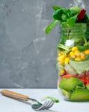 Υγιές take-$l*away βάζο μεσημεριανού γεύματος με το σολομό, Στοκ Εικόνα