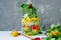 Υγιές take-$l*away βάζο μεσημεριανού γεύματος με το σολομό, Στοκ Εικόνες