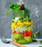 Υγιές take-$l*away βάζο μεσημεριανού γεύματος με το σολομό, Στοκ εικόνα με δικαίωμα ελεύθερης χρήσης