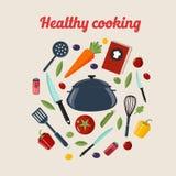 Υγιής έννοια μαγειρέματος κουζινών απεικόνιση αποθεμάτων