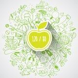 Υγιής έννοια τρόπου ζωής με το μήλο και doodles Στοκ Φωτογραφίες