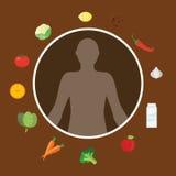 Υγιής βιταμίνη τροφίμων διατροφής σωμάτων που τρώει το φυτικό μεταβολισμό μποτών φρούτων διανυσματική απεικόνιση