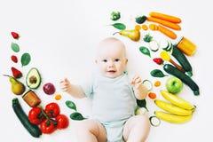 Υγιής διατροφή παιδιών μωρών, υπόβαθρο τροφίμων, τοπ άποψη στοκ φωτογραφία με δικαίωμα ελεύθερης χρήσης