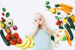 Υγιής διατροφή παιδιών μωρών, υπόβαθρο τροφίμων, τοπ άποψη στοκ εικόνα