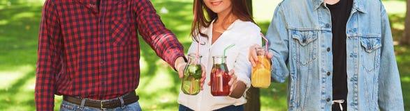 υγιής διατροφή Φίλοι που πίνουν detox το τσάι Στοκ φωτογραφία με δικαίωμα ελεύθερης χρήσης