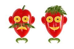 Υγιής κατανάλωση. Πρόσωπα των αστείων ατόμων φιαγμένα από λαχανικά και φρούτα Στοκ φωτογραφίες με δικαίωμα ελεύθερης χρήσης