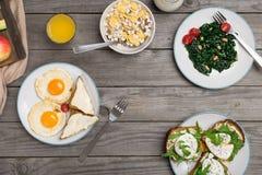 υγιής πίνακας τροφίμων προγευμάτων Στοκ φωτογραφίες με δικαίωμα ελεύθερης χρήσης