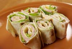 Υγιής ρόλος ψωμιού pita σάντουιτς λεσχών Στοκ Εικόνα