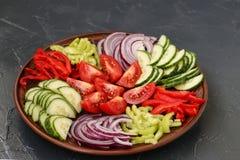 Υγιής σαλάτα της ντομάτας, του κόκκινου κρεμμυδιού, του πιπεριού και των αγγουριών στοκ φωτογραφία