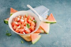 Υγιής σαλάτα Detox με το καρπούζι και το τυρί Στοκ φωτογραφία με δικαίωμα ελεύθερης χρήσης