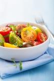 Υγιής σαλάτα με τις ζωηρόχρωμες ντομάτες Στοκ Εικόνες